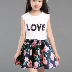 Giá bán Amart Mùa Hè Kid Đầm Không Tay Áo Thun Top và Chân Váy hoa Nhỏ Bé Gái Bộ Trang Phục-intl