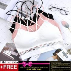 Hình ảnh Áo bra, áo ngực thể thao chân ren dây chéo AL14 + Tặng kèm 1 thẻ tích điểm Giá tôt 360