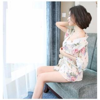 Áo choàng ngủ voan mỏng hoa văn thắt đai eo CDAN39 Chodeal24h - Trắng - Hàng cao cấp thumbnail