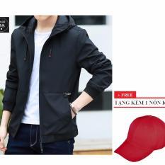 Áo khoác dù nam có nón AKD119 (đen) + Tặng 1 nón kết nam