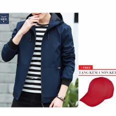 Áo khoác dù nam có nón AKD119 (xanh đen) + Tặng 1 nón kết nam