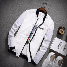 Áo khoác dù thể thao nam cổ viền đen (Trắng) Thoitrangkm
