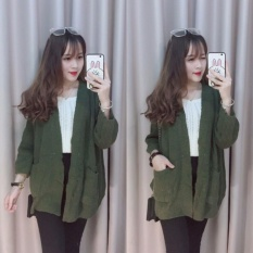 Áo khoác len Cardigan dáng dài chất đẹp (rêu)Chipxinhxk