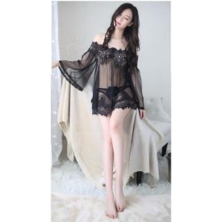 Áo ngủ sexy trễ vai tay dài CDAN30 Kim Phát - Đen - Size M thumbnail
