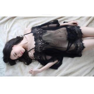 Áo ngủ sexy trễ vai tay dài CDAN30 Kim Phát - Đen - Size XL thumbnail
