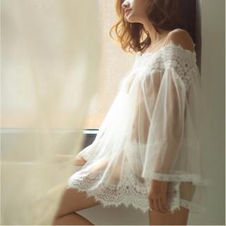Áo ngủ sexy trễ vai tay dài CDAN30 Kim Phát - Trắng - Size L thumbnail