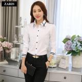 Áo sơ mi nữ dài tay thời trang công sở ZARIS ZA21581WB - Trắng phối đen