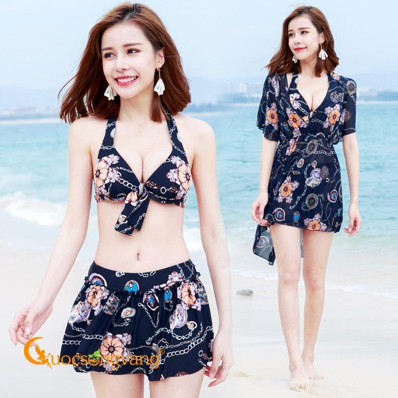 Nơi bán Áo tắm đi biển cao cấp đồ bơi ba mảnh màu xanh đen GLSWIM009