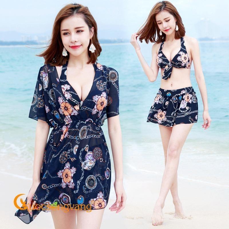 Nơi bán Áo tắm đi biển đồ bơi ba mảnh màu xanh đen GLSWIM009
