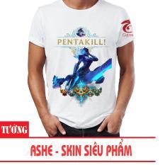 Bán Ao Thun Lien Minh Huyền Thoại 3D Tướng Ashe Skin Sieu Phẩm Pentakill Trắng Lol Rẻ