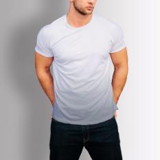 Áo thun nam cao cấp trơn cổ tròn in chuyển màu xám đẹp ( Trắng ) - có size lớn