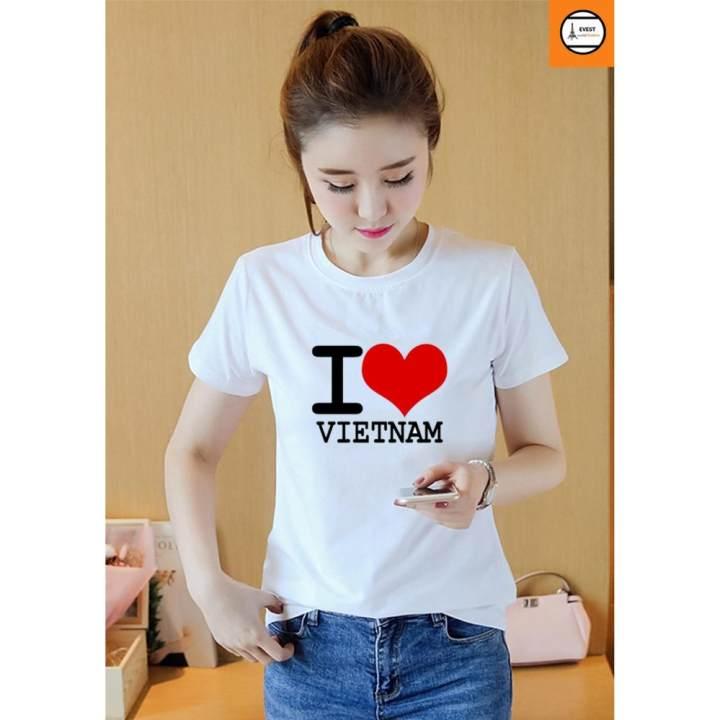 Áo thun nữ tôi yêu Việt Nam vải dày mịn AoK1577