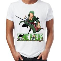 Áo thun One Piece giá rẻ in hình Zoro (Áo Trắng, In 2 Mặt, In Tay Áo) - Mẫu 3