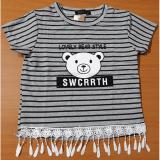 Áo thun tua ren sọc ngang in hình gấu hiệu Sara michelle(sọc xám/đen)