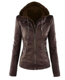 Giá Bán Autumn And Winner New Female Locomotive Short Hooded Leather Jacket Short Zipper Paragraph Slim Pu Jacket Stylish Casual Lady G*rl Long Sleeve Outerwear Coat Coffee Intl Nhãn Hiệu Oem