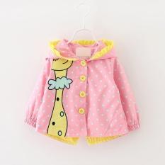 Giá bán autumn Kids girls coats clothing Baby girls fashion cartoon dots hooded trench coat 1-3 years - intl