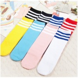 Baby Boys Girls Toddler Kids Knee High Length Cotton Stripes School Sport Socks - intl