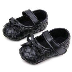 Giá bán Bé Gái Kid Da Bóng Nơ Plaids Nhung Mềm Mại Đế Giày Công Chúa 0-12 m J78 ĐEN-quốc tế