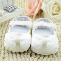Giá bán Kid cho bé Gái Bling Đầm Mary Jane Trẻ Sơ Sinh Đế Mềm Dây Thắt Nơ Prewalker Giày TRẮNG-quốc tế