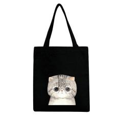 Beach Tote Shopper Bags Canvas Shopping Shopper Upset Cat Black - intl