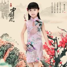 Giá bán Trung Quốc đẹp Retro Cho Trẻ Em gái Cho Bé Con Công Sườn Xám Đầm/Qipao 1-8Y Quần Áo Màu Hồng Size 8-quốc tế