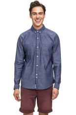 Bán Bellfield Men S Long Sleeve Nep Chambray Shirt Navy Bellfield Rẻ