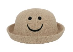 Hình ảnh Bigood Trẻ Em Trẻ Em Dễ Thương Emoji Nụ Cười Cuộn Tròn Vành Nắp Kiềng Mặt Trời Nón Mũ lưỡi trai Kaki-quốc tế