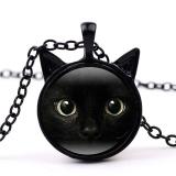 Black Cat Face Time Gemstone Necklace Cat Ear Pendant Sweater Chain Necklace Black 50cm - intl