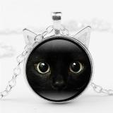 Mèo đen Mặt Thời Gian Đá Quý Cổ Tai Nghe Tai Mèo Mặt Dây Chuyền Áo Len Dây Chuyền Bạc 50 cm-quốc tế