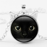 Black Cat Face Time Gemstone Necklace Cat Ear Pendant Sweater Chain Necklace Silver 50cm - intl