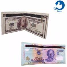 Bộ 2 Vi Da In Hinh Tiền 500 Vnd Va 100 Usd Vietnam Chiết Khấu