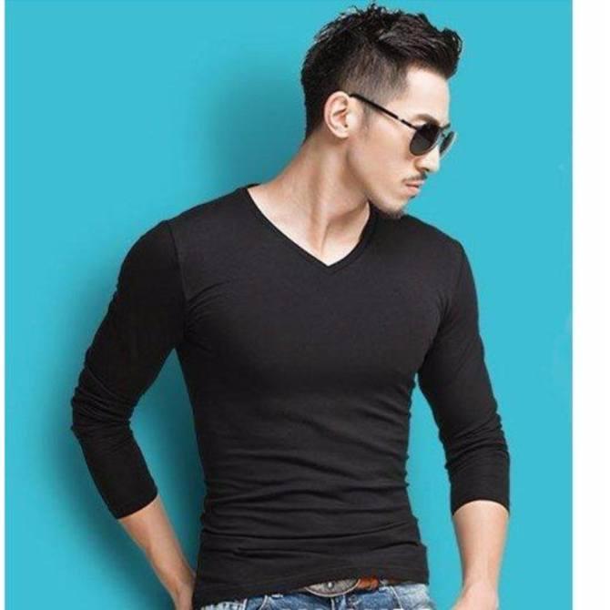 Hình ảnh Bộ 3 áo thun nam body tay dài cổ tim vải dày mịn ( đen, trắng, xám )