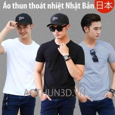 Ôn Tập Bộ 3 Ao Thun Nam Trơn Ao Phong Nam Thoat Nhiệt Nhật Bản Đen Trắng Xam Tieu