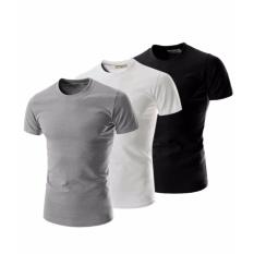 Hình ảnh Bộ 3 áo thun trơn nam form rộng phong cách hàng quốc vải dày mịn (Trắng - Đen - Xám)
