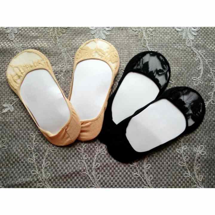 Bộ 3 đôi tất hài ren ,vớ đi giầy lười, giầy búp bê (màu da chân)