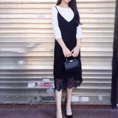 Bán Bộ Đầm Suong Chan Ren Kem Ao Thun Trắng Tay Lửng Có Thương Hiệu Rẻ