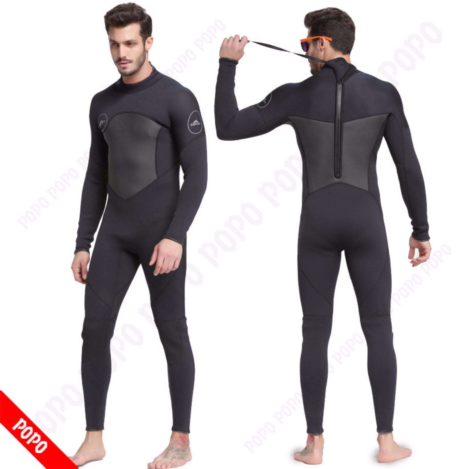 Bộ đồ lặn, quần áo lặn biển 3mm (BLACK) giữ ấm, thoáng khí, chống thầm nước cao cấp POPO Sports - 4
