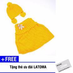 Bộ mũ len và áo quây bé gái Latoma S1402 (Vàng) + Tặng kèm thẻ ưu đãi Latoma