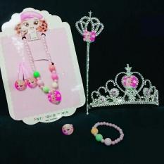 Hình ảnh bộ phụ kiện bé gái công chúa elsa 7 món (màu hồng)