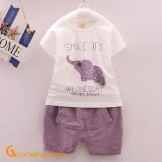 Giá bán Bộ quần áo bé gái cộc tay in voi tím GLSET015