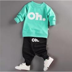 Giá bán Bộ quần áo bé gái dài tay in hình OH thời trang - BG01 (Áo xanh lá - quần đen)