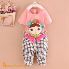 Giá bán Bộ quần áo bé gái hồng nhạt đính búp bê GLSET016-lightpink