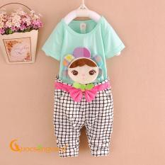 Giá bán Bộ quần áo bé gái xanh đính búp bê GLSET016-xanhngoc