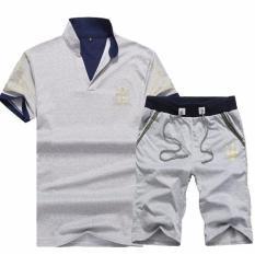 Bộ quần short áo thun nam cổ trụ thời trang ZAVANS (Xám)