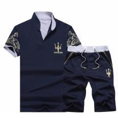 Bộ quần short áo thun nam cổ trụ thời trang ZAVANS (Xanh đen)