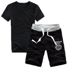 Bộ quần short thun và áo thun nam cotton, co giãn, thấm hút tốt (Đen)