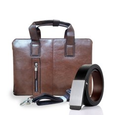Cửa Hàng Bán Bộ Tui Xach Laptop Va Thắt Lưng Da Hai Mặt Cao Cấp Hanama Mpt999 Nau