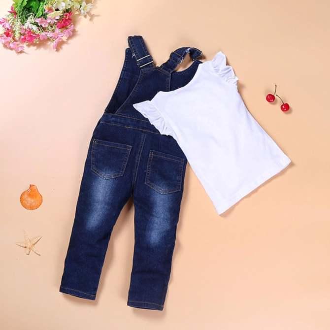 Bộ yếm jean kèm áo cho bé gái