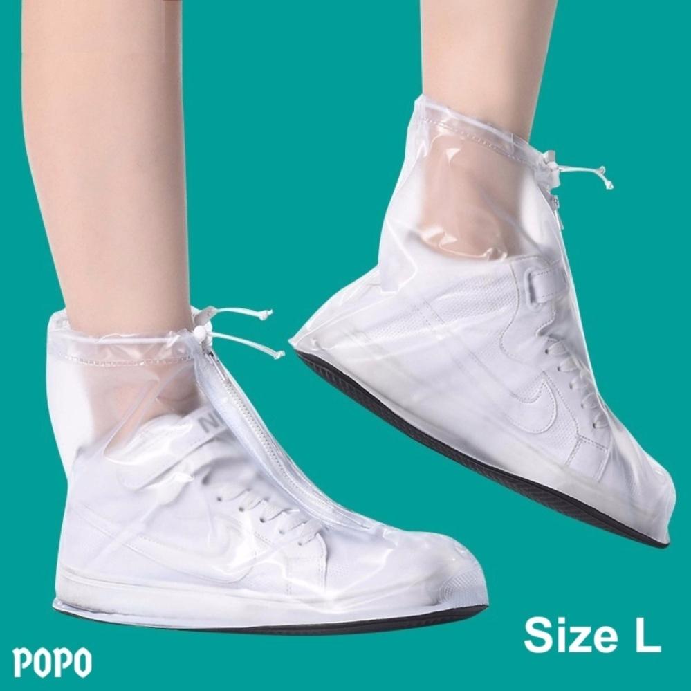 Bọc giày đi mưa cho nam Size L (Trắng), chống thấm nước 100%, chất liệu cao cấp + Quà tặng ngẫu nhiên