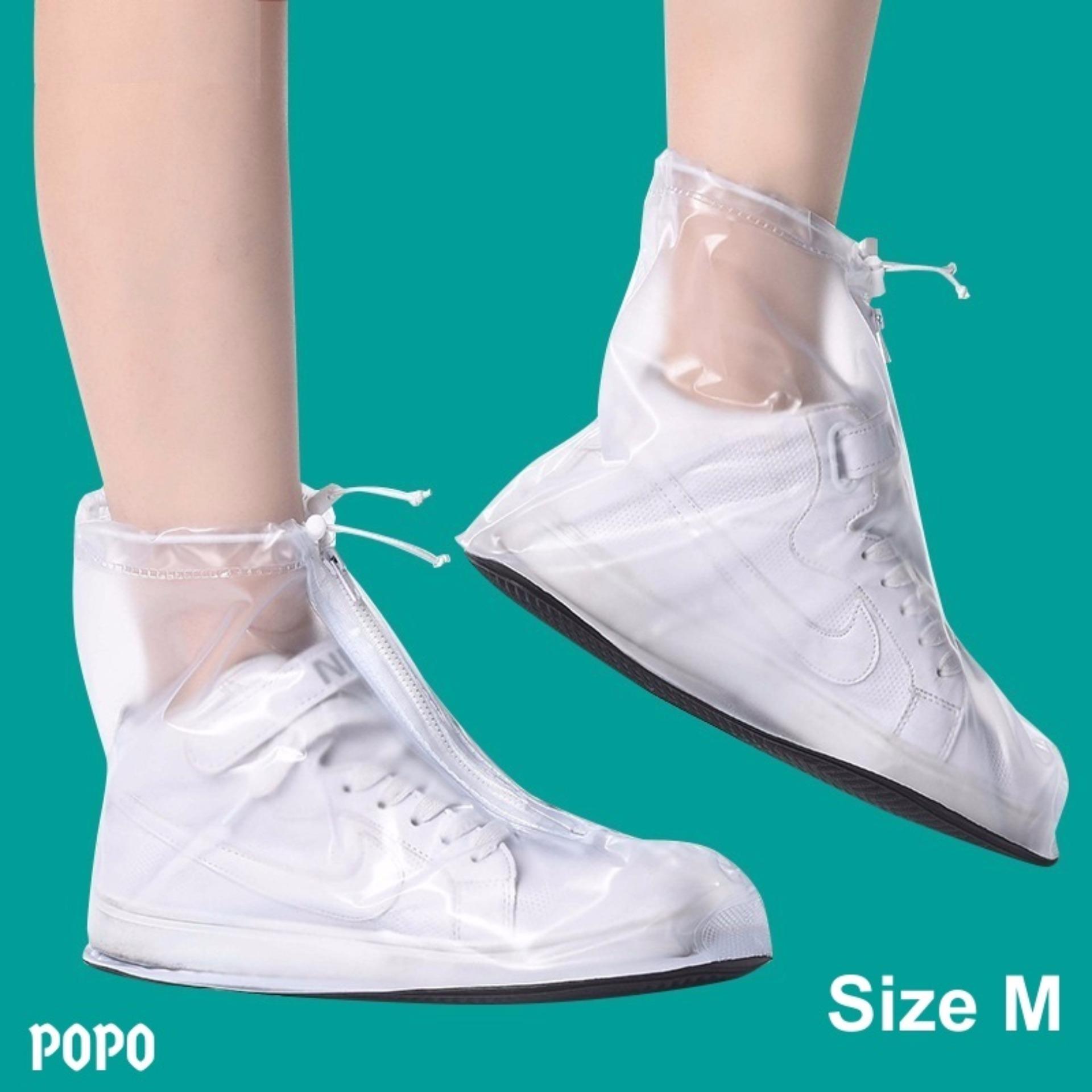 Bọc giày đi mưa thời trang Size M (Trắng), chống thấm nước 100%, chất liệu cao cấp LEPIN Việt Nam